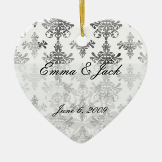 distressed black white intricate damask ceramic ornament