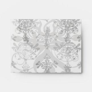 distressed black white intricate damask envelope