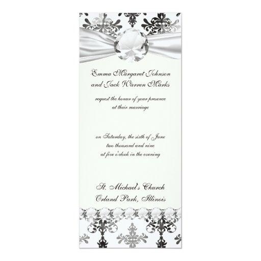 distressed black white intricate damask 4x9.25 paper invitation card