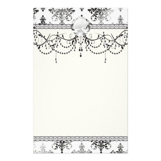 distressed black white intricate damask stationery