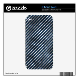 Distressed Blue And White Stripes iPhone 4S Decals