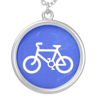 Distressed blue bicycle sign necklace