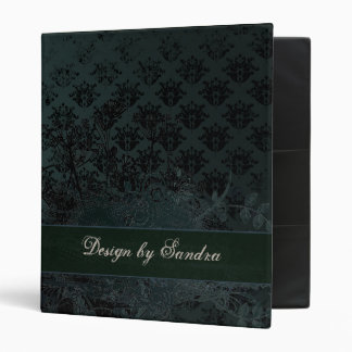 Distressed Blue Damask with Wild Flowers 3 Ring Binder