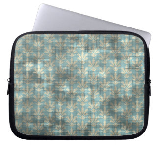 Distressed Blue Floral Computer Sleeve