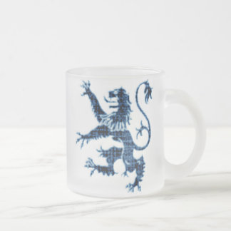 Distressed Blue Rampant Lion Frosted Glass Coffee Mug