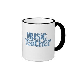 Distressed Blue Text Music Teacher Ringer Mug