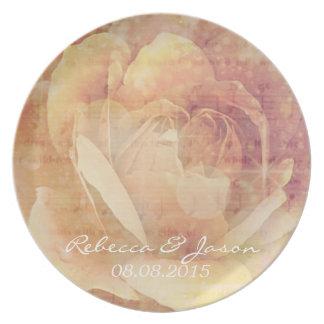 Distressed Botanical vintage Rose Wedding Dinner Plate