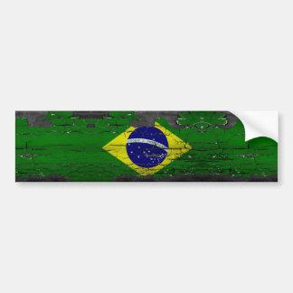 Distressed Brazil Flag Bumper Sticker