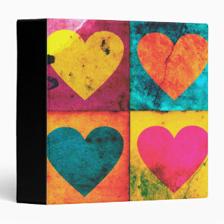 Distressed Bright Pop Art Heart   Binder