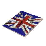 Distressed British Union Jack Small Square Tile
