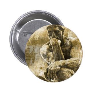 Distressed bronze statue Auguste Rodin the thinker Pinback Button