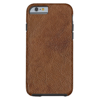 Distressed Brown Leather Look Printed Image Tough iPhone 6 Case