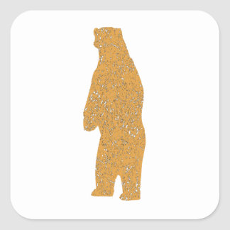 Distressed Brown Standing Bear Square Sticker