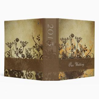 Distressed Brown Wild Flowers Binder Vinyl Binders