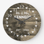 Distressed Brown Wood Wedding Anniversary Large Clock