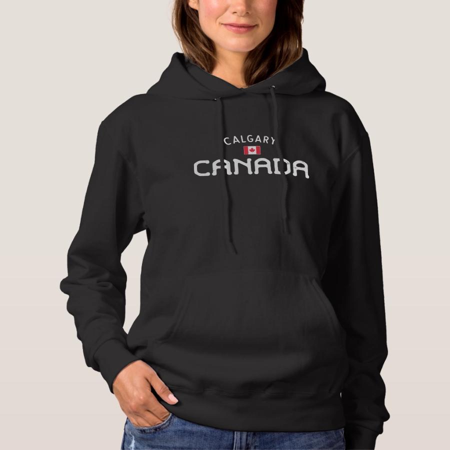 Distressed Calgary Canada Hoodie - Creative Long-Sleeve Fashion Shirt Designs