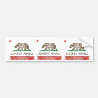 Distressed California Republic Flag Bumper Sticker