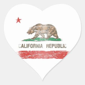 Distressed California Republic Flag Heart Stickers