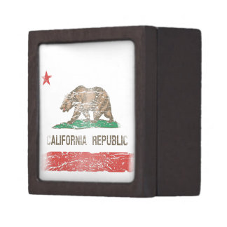 Distressed California Republic Flag Keepsake Box