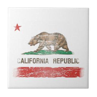 Distressed California Republic Flag Tile