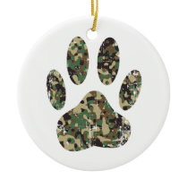 Distressed Camo Dog Paw Print Ceramic Ornament