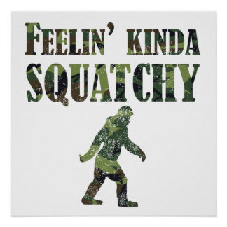 Distressed Camouflage Feelin' Kinda Squatchy Poster