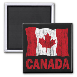 DISTRESSED CANADA FLAG 2 INCH SQUARE MAGNET