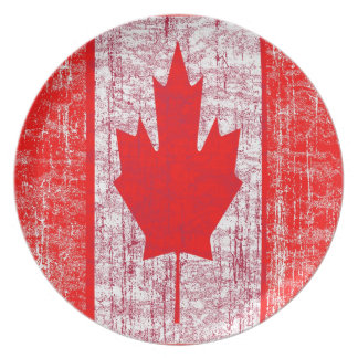Distressed Canadian Flag  Plate
