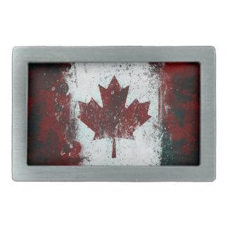 Distressed Canadian Flag Rectangular Belt Buckle