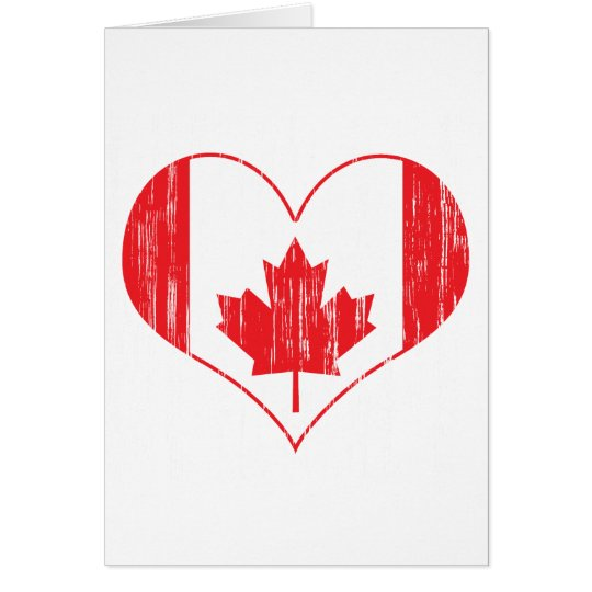 Distressed Canadian Heart Card