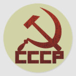 Distressed CCCP with Hammer & Sickle Classic Round Sticker