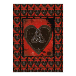Distressed Celtic Hear Valentine 5.5x7.5 Paper Invitation Card