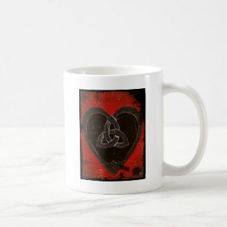 Distressed Celtic Heart on Red Mugs