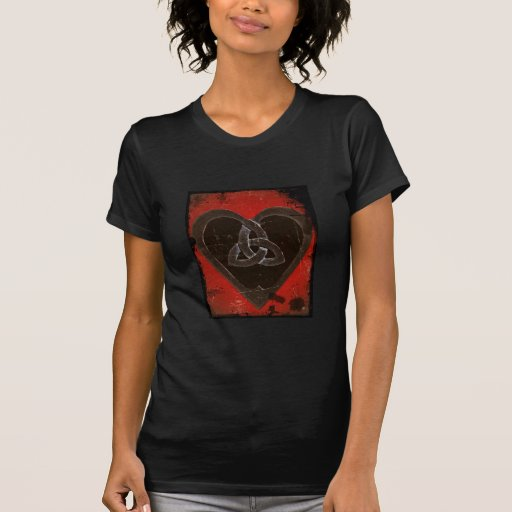 Distressed Celtic Heart on Red Tee Shirt