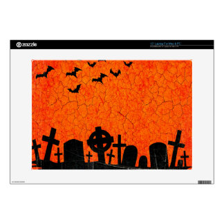"Distressed Cemetery - Orange Black Halloween Print 15"" Laptop Skin"