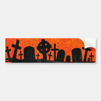 Distressed Cemetery - Orange Black Halloween Print Bumper Sticker