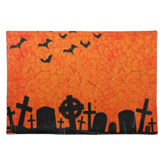 Distressed Cemetery - Orange Black Halloween Print Cloth Placemat