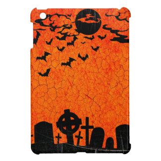 Distressed Cemetery - Orange Black Halloween Print Cover For The iPad Mini