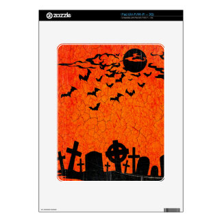 Distressed Cemetery - Orange Black Halloween Print Decal For iPad
