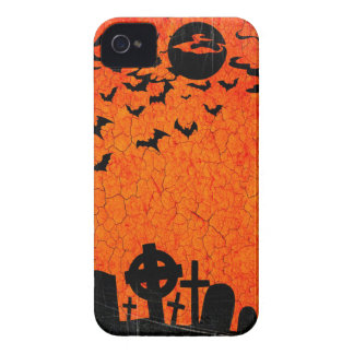 Distressed Cemetery - Orange Black Halloween Print iPhone 4 Case-Mate Case
