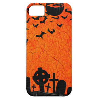 Distressed Cemetery - Orange Black Halloween Print iPhone SE/5/5s Case