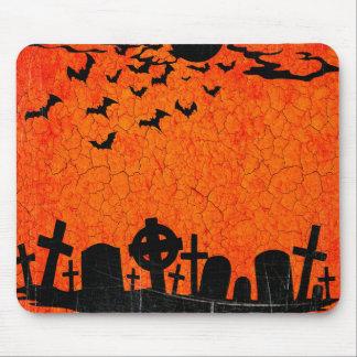 Distressed Cemetery - Orange Black Halloween Print Mouse Pad