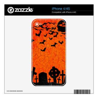 Distressed Cemetery - Orange Black Halloween Print Skins For iPhone 4