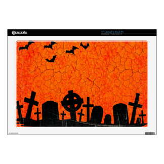 Distressed Cemetery - Orange Black Halloween Print Skins For Laptops
