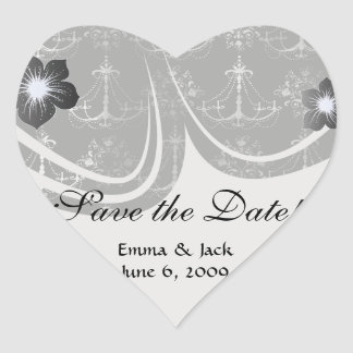 distressed chandelier black white heart sticker