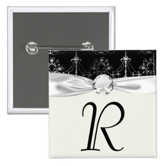 distressed chandelier black white pinback button