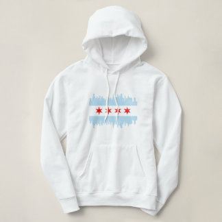 Distressed Chicago Skyline Flag Hoodie