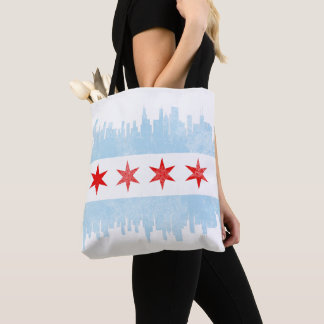 Distressed Chicago Skyline Flag Tote Bag