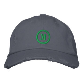 Distressed Chino Twill Cap With Monogram Template