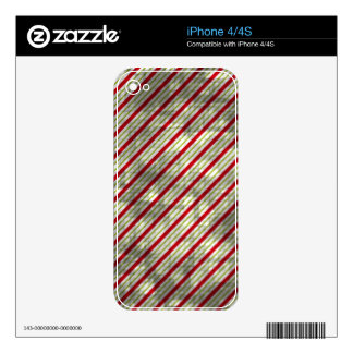 Distressed Christmas Stripes iPhone 4 Skins